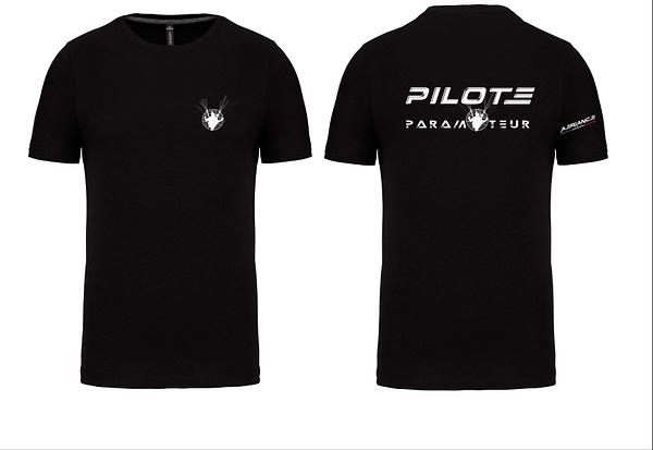 t shirt pilote paramoteur noir