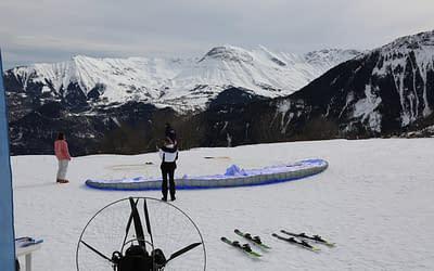Paramoteur biplace à ski